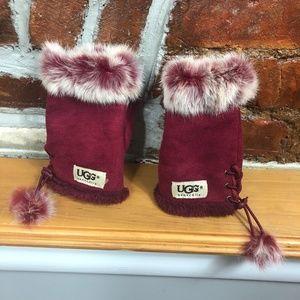 UGG Garnet Red Fur Fingerless Gloves w/ pom poms